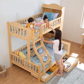 高品质儿童床购买建议 松木儿童床 松木子母床